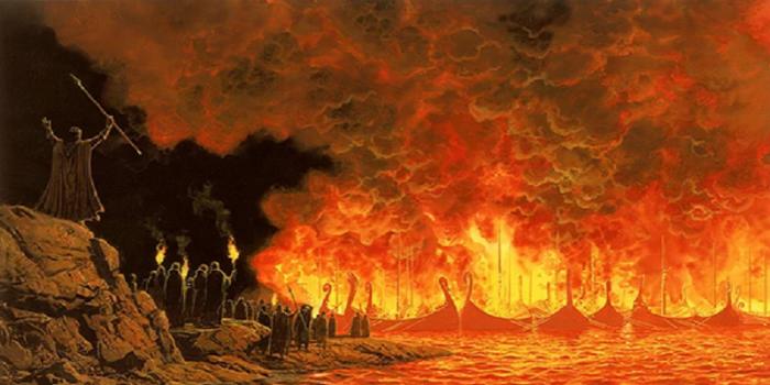 حرق السفن في فتح الأندلس - رسمة تعبيرية